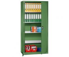 EUROKRAFT Armoire d'atelier - h x l x p 1950 x 950 x 500 mm, 4 tablettes - vert réséda RAL 6011