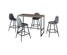 Price Factory - Ensemble table haute (mange debout, bar) + 4 chaises hautes MENTON. Un espace repas