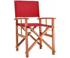 Chaise de jardin pliable rouge Cannes accoudoirs bois eucalyptus chaise régisseur pré-huilé