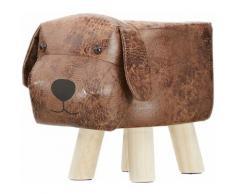 Tabouret chaise pour enfant motif animal chien marron rembourré avec mousse repose-pieds pieds en