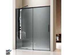 Kassandra - Paroi de douche fixe + Porte coulissante LUNA profil noir mat verre fumé 165 cm Sans