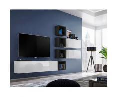 Ensemble meuble TV mural CUBE 7 design coloris blanc et noir. Meuble de salon suspendu - Blanc