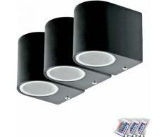 Ensemble de trois lumières mur LED RGB éclairage de la porte de commande à distance à l'extérieur