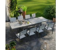 Avril Paris - Table de jardin extensible aluminium 270cm + 8 fauteuils empilables textilène