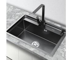 Kroos ® - Evier en inox noir à encastrer avec un égouttoir & distributeur de savon - 65 x 45 cm