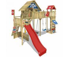 WICKEY Aire de jeux Portique bois Smart Ranger avec balançoire et toboggan rouge Maison enfant sur