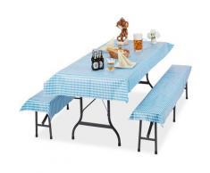 Ensemble pour tente Coussins, jeu de 3 pièces, nappe table 250x100cm, 2 housses pour bancs,
