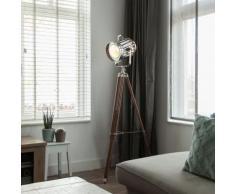 Lampadaire Tripod Torch bois et chrome Qazqa Design, Industriel / Vintage, Moderne Luminaire