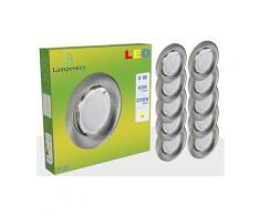 Lot de 20 Spot Led Encastrable Complete Alu Brossé Lumière Blanc Chaud 5W eq.50W ref.763