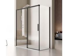 Kassandra - Paroi de douche fixe + Porte coulissante LUNA profil noir mat 100 cm Paroi latérale :