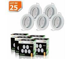 LOT DE 25 SPOT LED ENCASTRABLE COMPLETE ORIENTABLE BLANC AVEC AMPOULE GU10 230V eq. 50W, LUMIERE