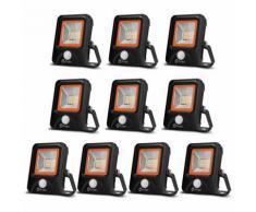 10×Anten 20W Projecteur LED Détecteur de Mouvement Spot Éclairage LED PIR Sensor Extérieur IP65