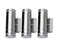 Lot de 3 appliques LED Garden Up Down Spots éclairage de façade en acier inoxydable Spots IP44