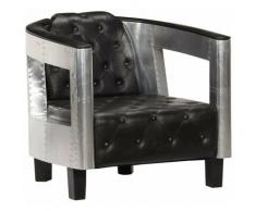 Helloshop26 - Fauteuil chaise siège lounge design club sofa salon en style d'aviation noir cuir