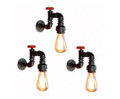 Lot de 3 Applique Murale Industrielle E27 eclairage Decor Luminaire Lampe de Mur Cafe Restaurant Bar