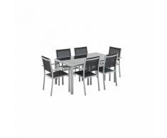 Salon de jardin Capua en aluminium table 150cm, 6 fauteuils en textylène noir et alu gris
