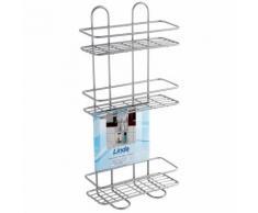 Feridras Étagère 3 tablettes rectangulaire acier chromé salle de bain douche 160009-B