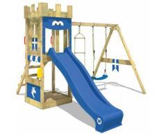 Aire de jeux Portique bois KnightFlyer avec balançoire et toboggan bleu Maison enfant exterieur