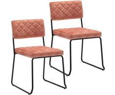 Décoshop26 - Lot de 2 chaises visiteur fauteuil salle à manger bureau en velours rose rembourrée