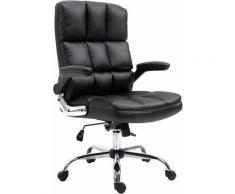Chaise de bureau 489, chaise de direction chaise pivotante chaise de bureau, ~ similicuir noir - HHG