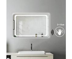 Miroir salle de bain 90x65cm anti-buée Mural Lumière Illumination avec éclairage LED