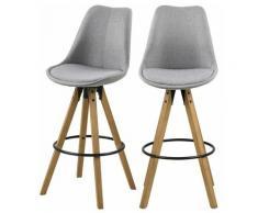 Selsey DJUM - Lot de 2 tabourets de bar - gris clair - en tissu - pieds en bois - style moderne