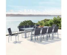 Arezzo 10 gris : salon de jardin extensible en aluminium + 10 assises en textilène