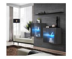 Ensemble meubles de salon SWITCH SBIII design, coloris gris brillant et porte vitrée avec système