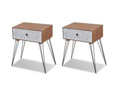 Helloshop26 - Table de nuit chevet commode armoire meuble chambre avec tiroir 2 pcs marron - Marron