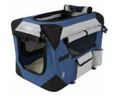 Cage boîte de transport pour chien tissu bleu et noir 70/52/52 cm