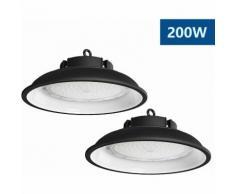2×Anten Top 200W UFO Projecteur LED Lampe Industrielle Suspension IP65 Phare de Travail 13000LM