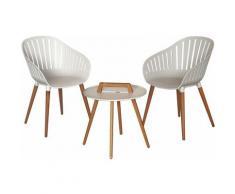 Salon de Jardin Lacio Bois Résine 2 Chaises et 1 Table Blanc - chillvert