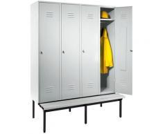 Wolf Vestiaire avec banc monté en dessous, portes en tôle perforée - largeur compartiments 400 mm,