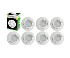Lot de 8 Spot Led Encastrable Complete Blanc Orientable lumière Blanc Chaud eq. 50W ref.193