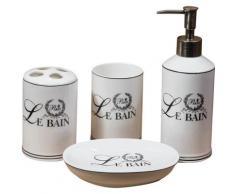 Set de salle de bains en porcelaine blanche Le Bain Paris composé par 4 pièces L25xPR10xH21 cm