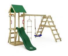 Aire de jeux Portique bois TinyLoft avec balançoire et toboggan vert Maison enfant exterieur avec