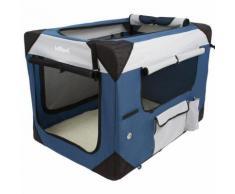 Cage boîte de transport pour chien tissu bleu et noir 102/69/69 cm