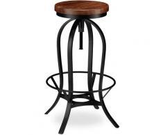 Tabouret de Bar, Design industriel, pivotant, Chaise haute ronde, Hauteur 76,5 cm max. fer bois,