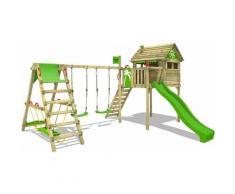 FATMOOSE Aire de jeux Portique bois FunFactory avec balançoire SurfSwing et toboggan vert pomme