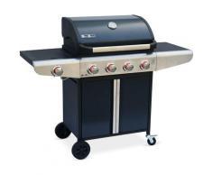 Barbecue au gaz Bazin 4 Anthracite Cuisine extérieure 4 brûleurs + 1 feu latéral avec tablettes