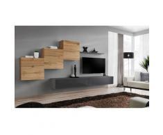 Price Factory - Ensemble meuble salon mural SWITCH X design, coloris gris brillant et chêne Wotan.