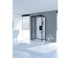Cabine de douche carrée 70x70x230cm - extra blanc et profilé noir mat - LUNAR SQUARE 70