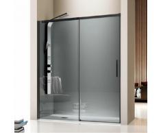 Kassandra - Paroi de douche fixe + Porte coulissante LUNA profil noir mat verre fumé 165 cm Paroi