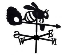 Girouette abeille et sa ruche en fer forgé petit modèle