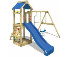 Aire de jeux Portique bois FreeFlyer avec balançoire et toboggan bleu Maison enfant exterieur avec