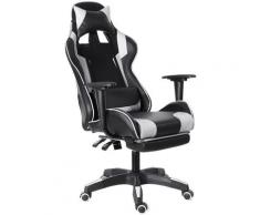 Chaise de Bureau Fauteuil Gaming Jeu Ergonomique Inclinable 155°Blanc Sasicare