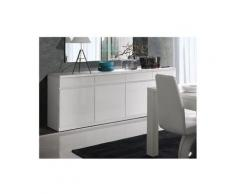 Price Factory - Buffet, bahut, enfilade FABIO. 4 portes et 4 tiroirs. Coloris blanc brillant high