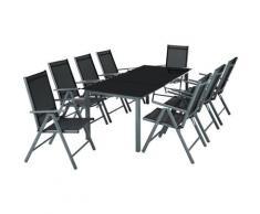 Tectake - Salon de Jardin avec 8 Chaises Pliantes et 1 Table en Verre et en Aluminium Gris Noir