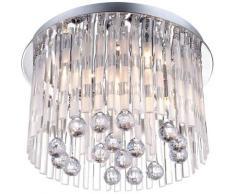 Éclairage plafonnier élégante en métal et avec les cristals acryliques