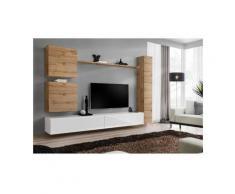 Price Factory - Ensemble meuble salon mural SWITCH VIII.Meuble TV mural design, coloris blanc